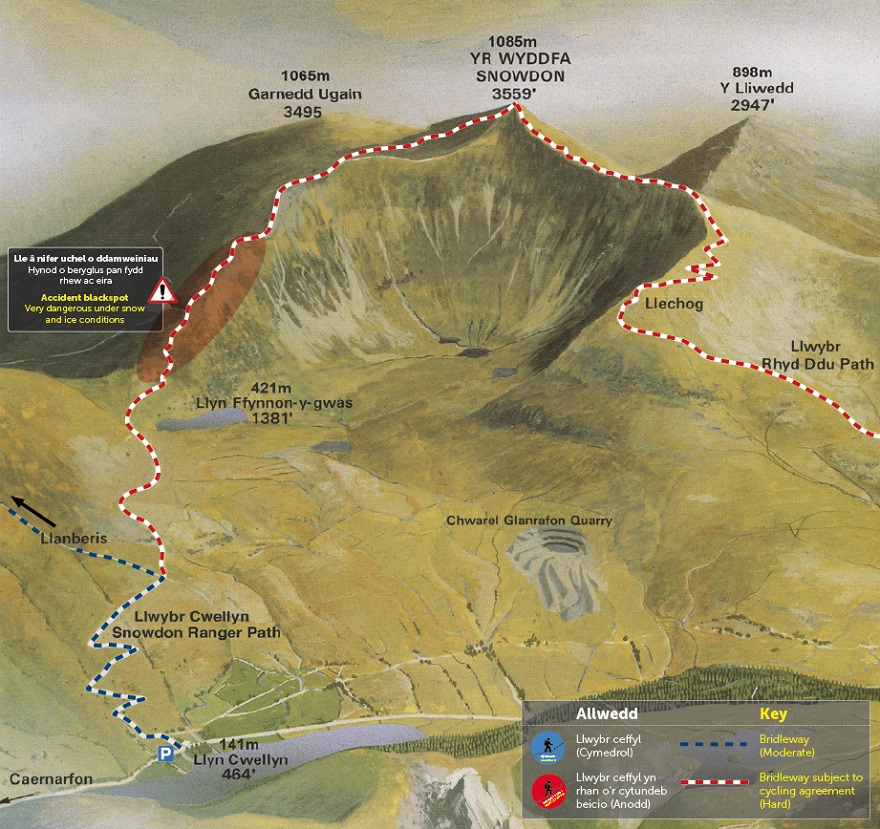 Snowdon Ranger Path Map © APCE_SNPA