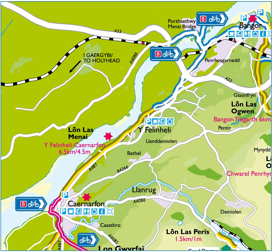 Lôn Las Menai Route Map